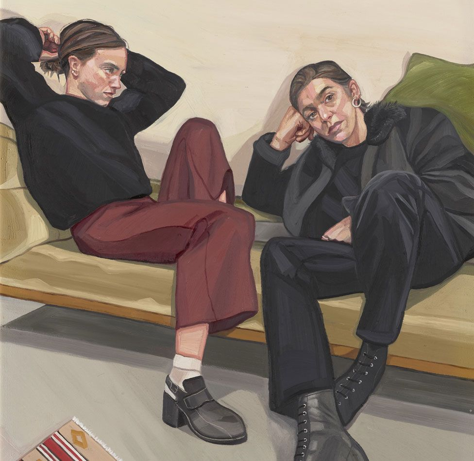 A detail from A Portrait of Two Female Painters by Ania Hobson