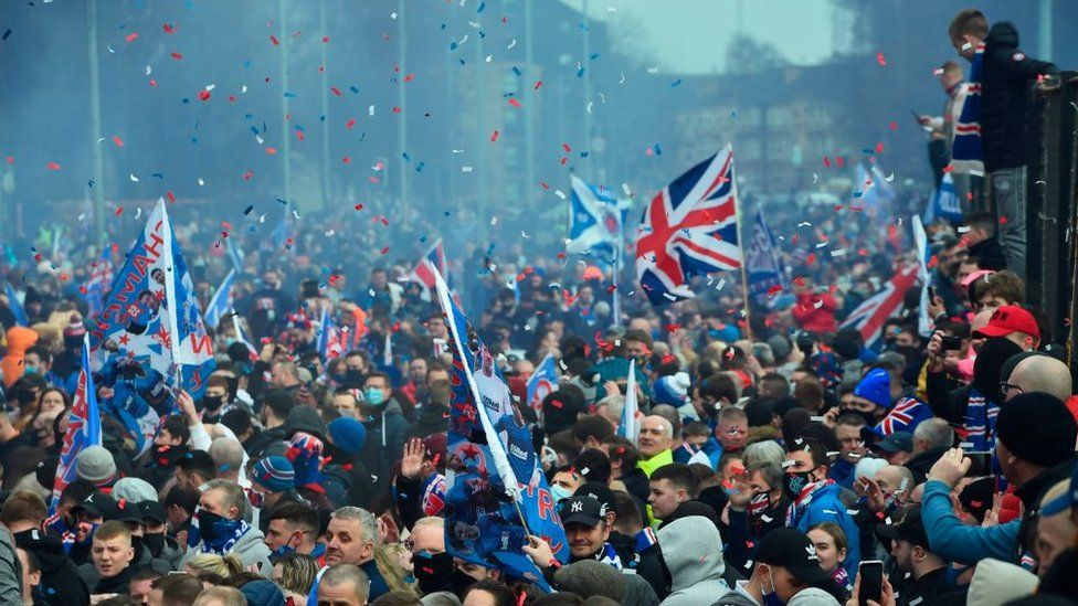 Rangers fans at Ibrox on Sunday