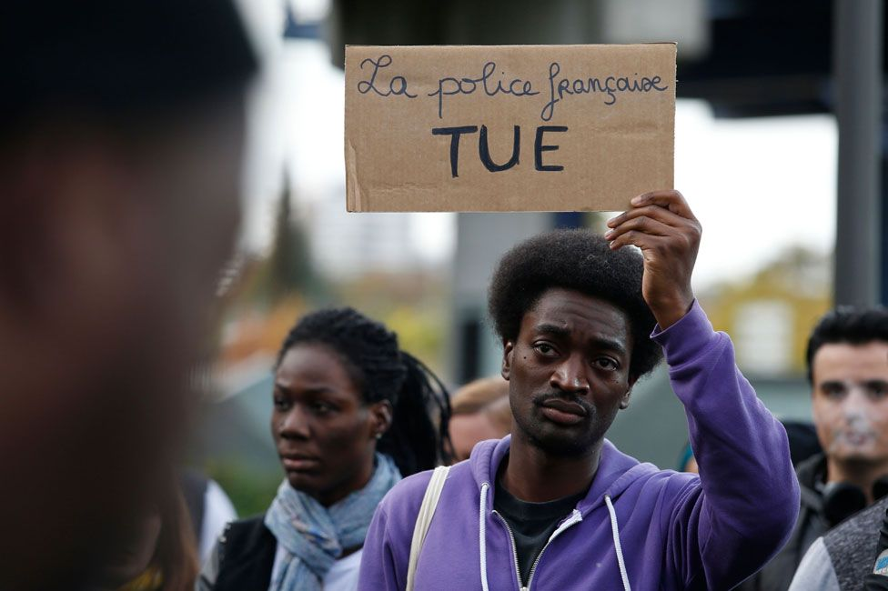 French demonstrators protesting against stop and search and police brutality