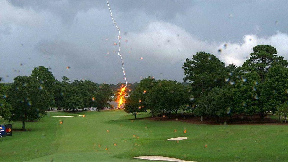 Lightning strikes a tree at East Lake Golf Club in Atlanta