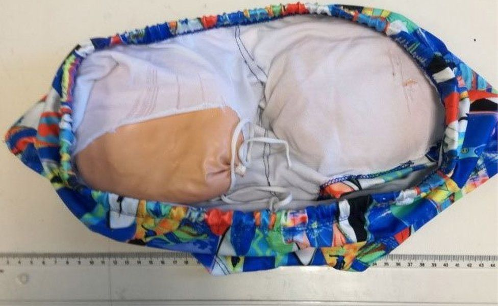 Picture shows the drug hidden in the suspect's underwear