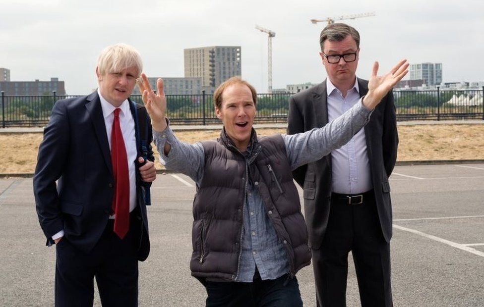 Benedict Cumberbatch as Dominic Cummings, Richard Goulding as Boris Johnson and Oliver Maltman as Michael Gove in Brexit: The Uncivil War