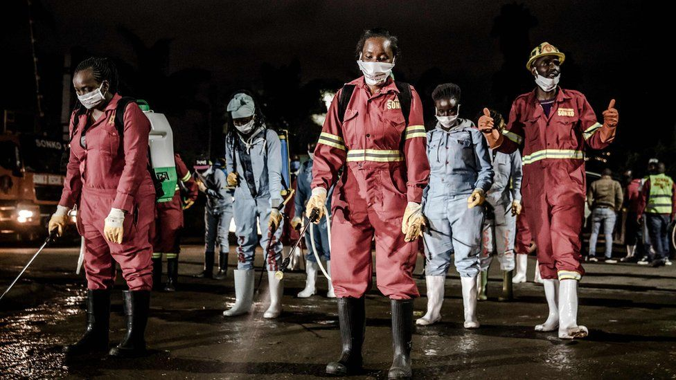 A market being disinfected in Nairobi at night, 15 April 2020