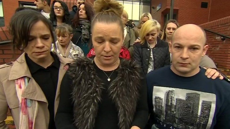 Brendan Mason's family outside Leicester Crown Court