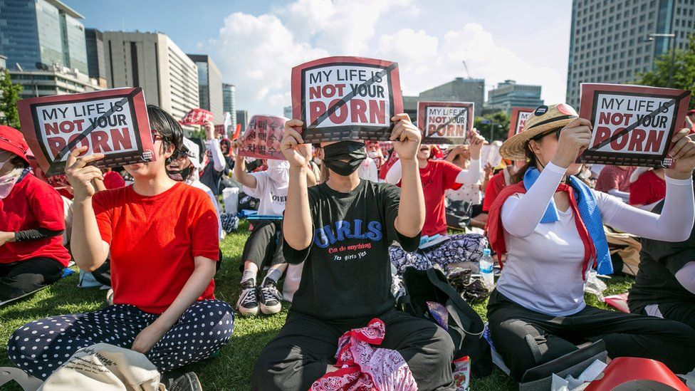 South Korean women protests in Seoul against spy cams