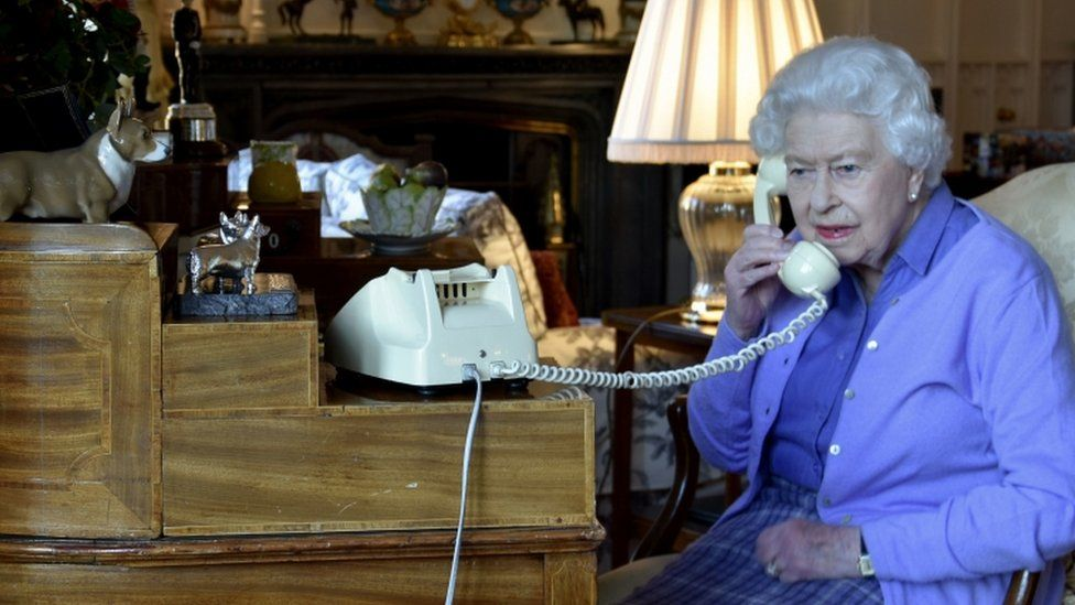 The Queen speaking to Boris Johnson on the phone