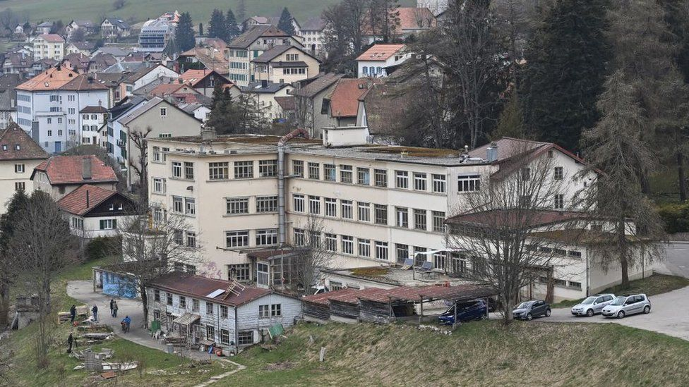 A general view of a closed down factory in Sainte-Croix where the girl was found with her mother