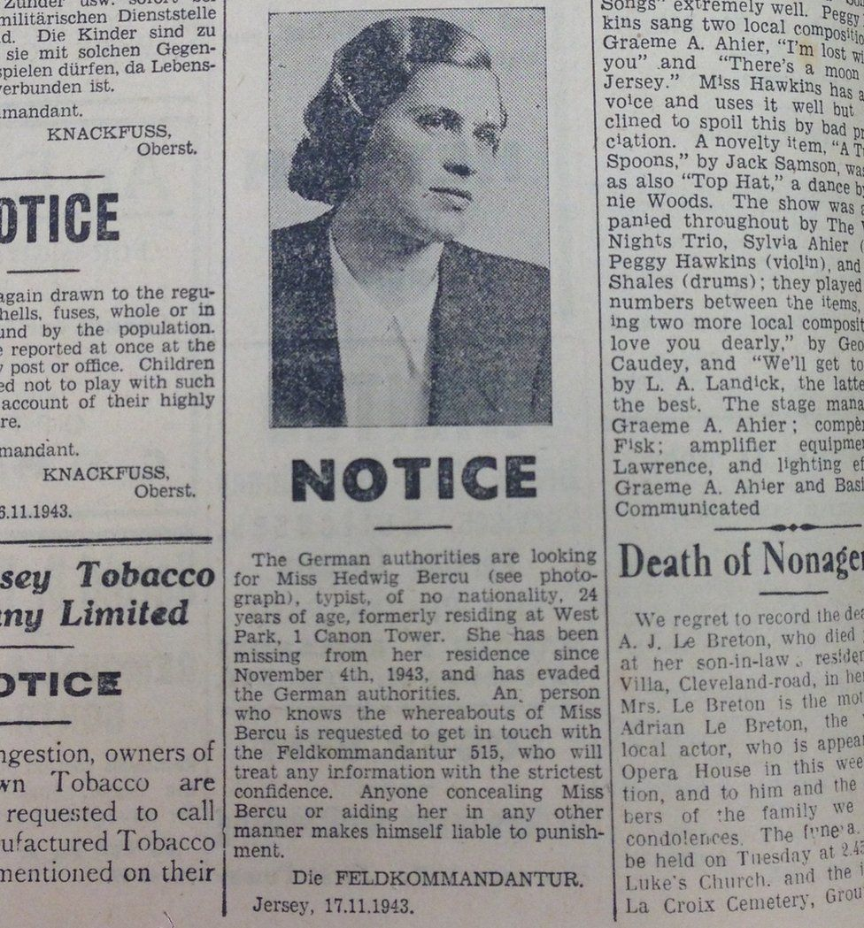 German wanted notice for Hedwig Bercu
