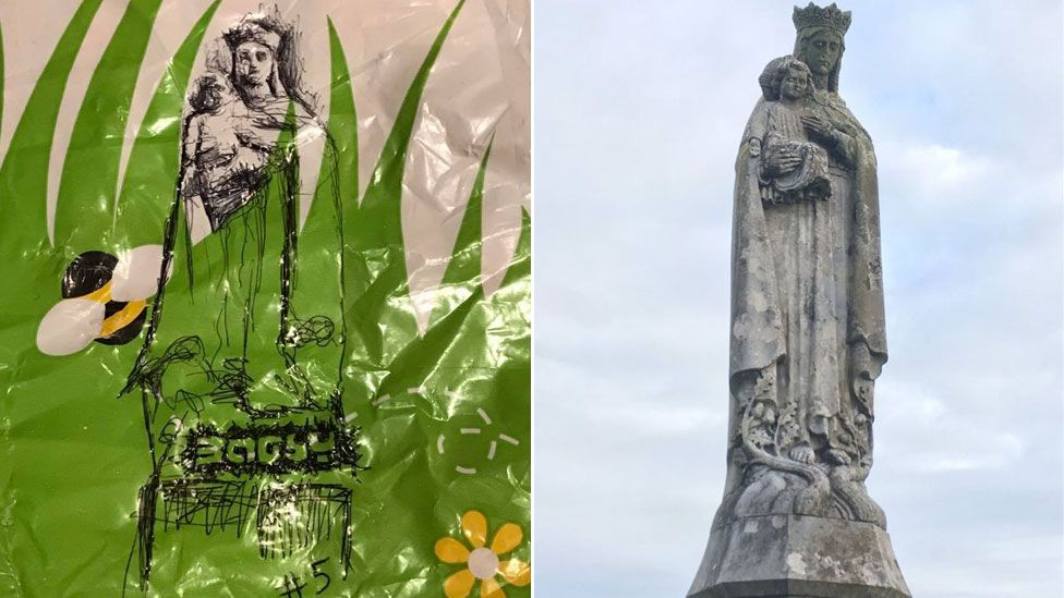 Our Lady of Penrhys statue (r) and illustration (l)