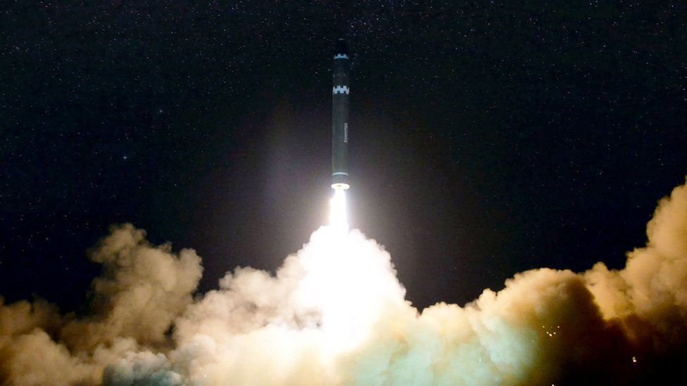 Photo taken released on 30 November 2017 by North Korea's official Korean Central News Agency (KCNA) shows launch of the Hwansong-15 missile, said to be capable of reaching all parts of the US