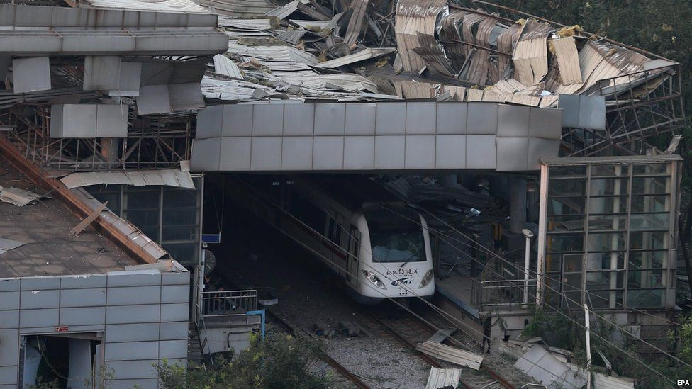 A station damaged by two explosions in Tianjin