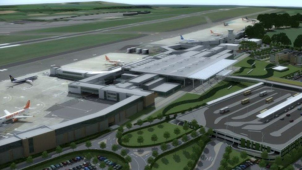 Artist's impression of the expanded Bristol Airport