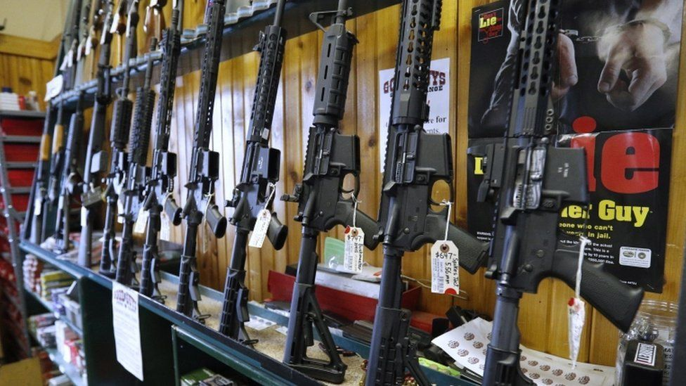 AR-15s on display in a gun shop in Utah on Feb 15