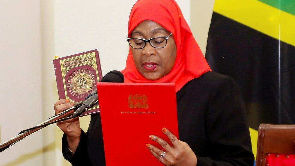 "Tanzania""s new President Samia Suluhu Hassan takes oath of office following the death of her predecessor John Pombe Magufuli at State House in Dar es Salaam, Tanzania March 19, 2021"
