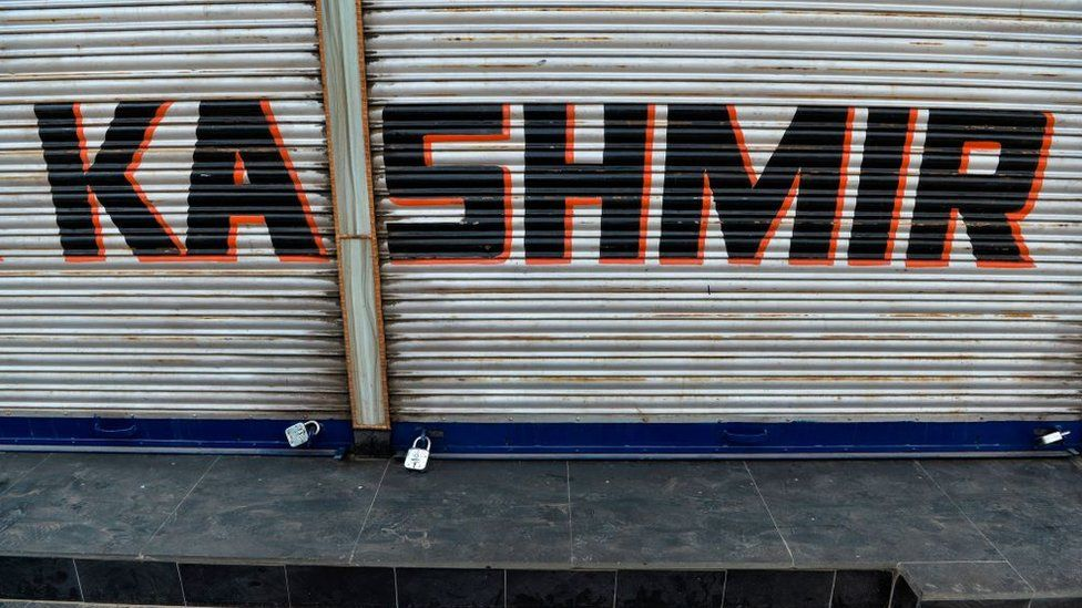 A closed shop is pictured during curfew in Srinagar on August 7, 2019.