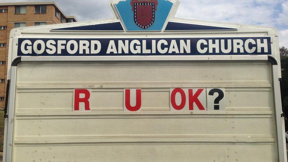 """Gosford Anglican Church billboard reads: """"R U OK?"""""""
