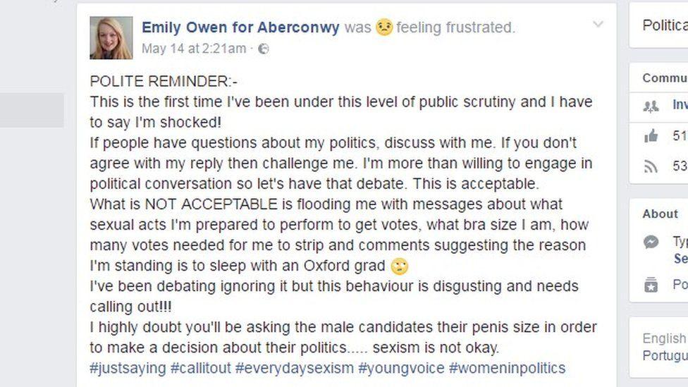 Emily Owen's Facebook post