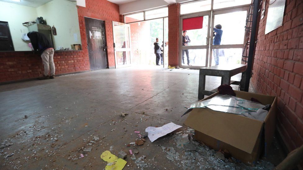 A view of the vandalized place at Sabarmati hostel at the Jawaharlal Nehru University (JNU) campus in New Delhi, India, 06 January 2019.