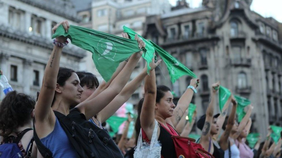 """People participate in a rally on the occasion of the first anniversary of the """"panuelazo"""" (protest with handkerchief) for the legalisation of abortion, in Buenos Aires, Argentina, 19 February 2019."""