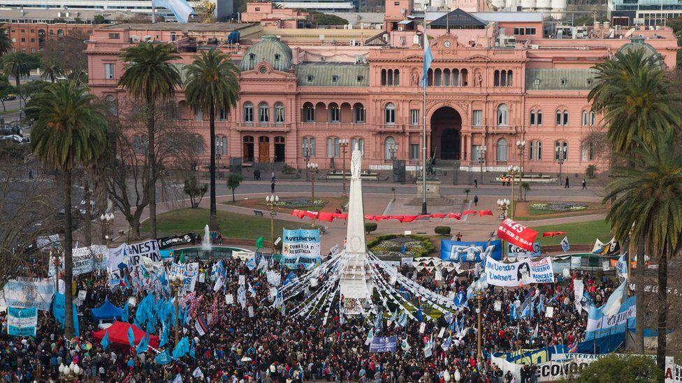 Rally in the the Plaza de Mayo square, in Buenos Aires. 11 Aug 2016