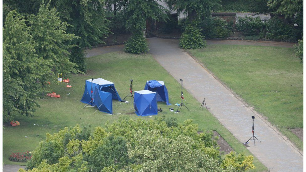 Police forensic tents after the attack
