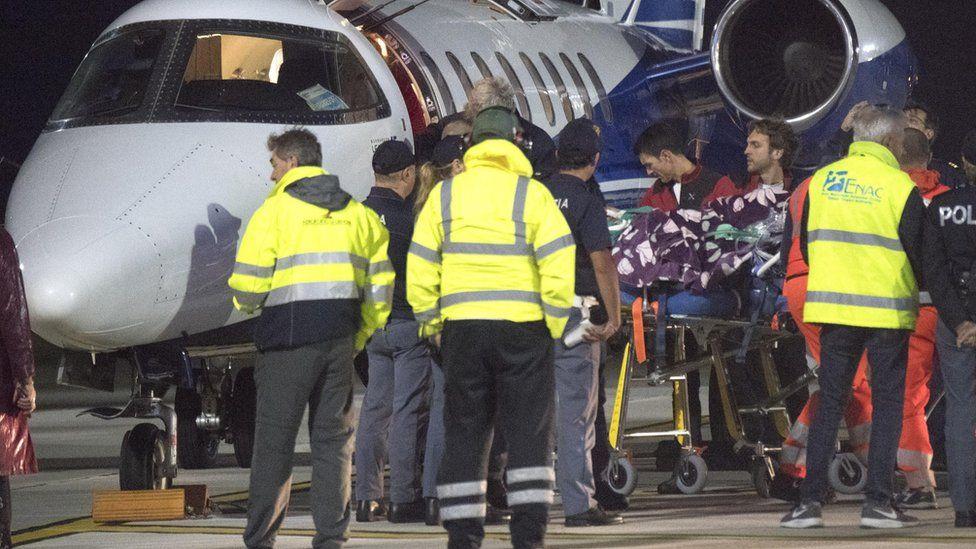 Tafida Raqeeb arrives with an airplane-ambulance at Genoa's Cristoforo Colombo airport to be transferred to the Gaslini pediatric hospital in Genoa