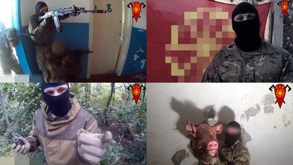 """Screenshots from some of the videos created by the """"Russian Liberation Movement"""": a montage showing armed men, a man with a pig's head, men with faces covered in the woods and in front of a flag."""