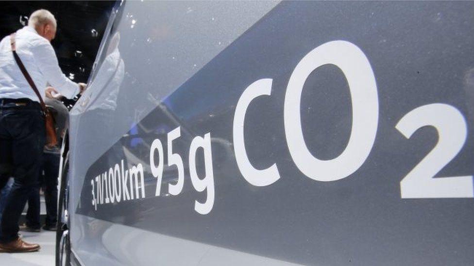 Ad on car showing emissions levels