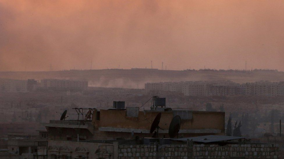 Smoke rises from Aleppo's Castello Road after air strikes on 2 June 2016