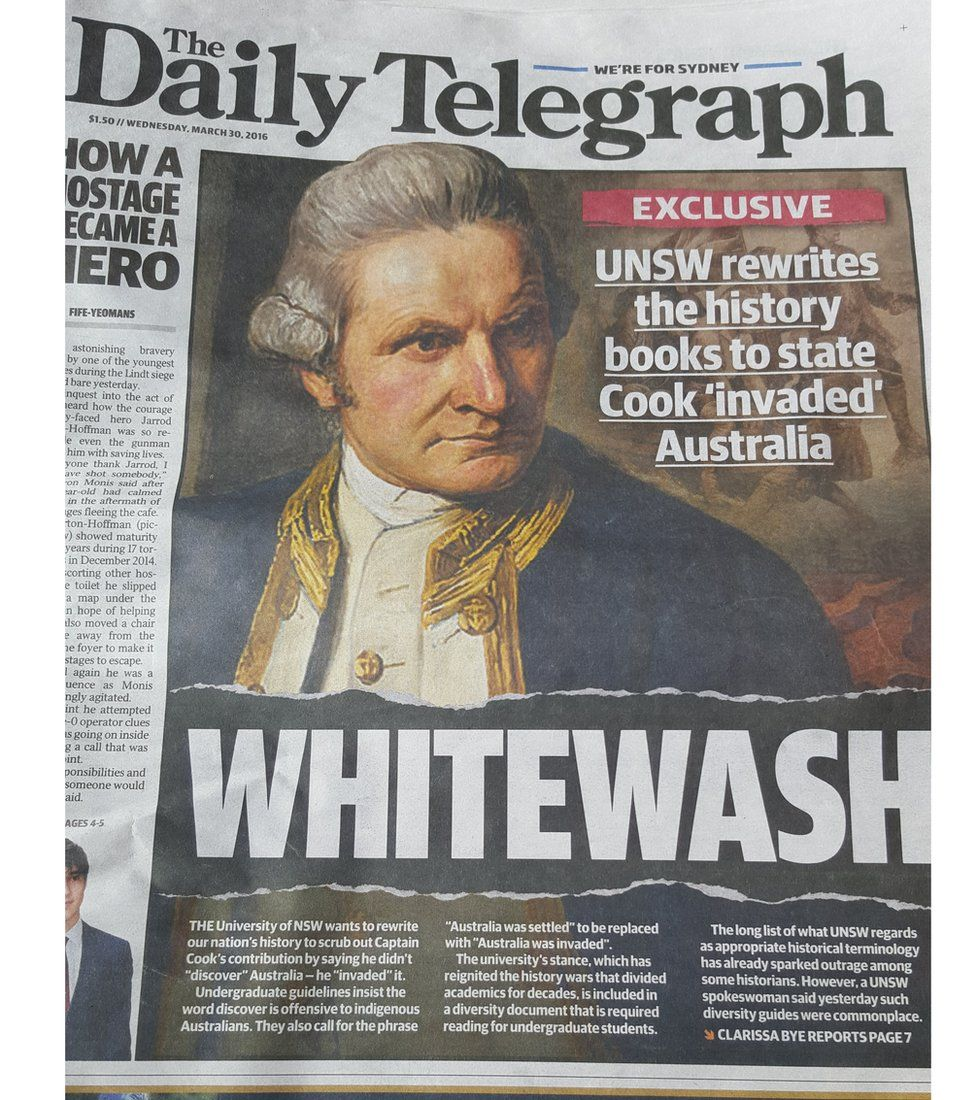 """Murdoch newspapers described the language guide as a """"highly controversial rewriting of official Australian history"""""""