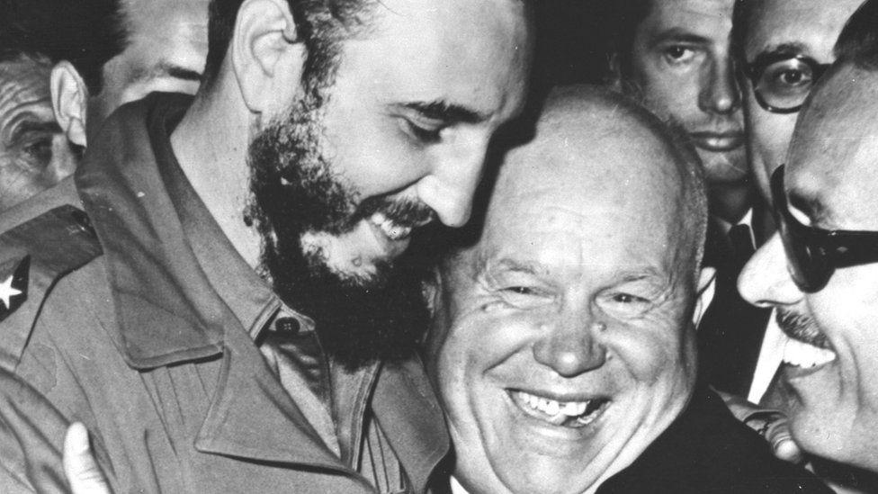 Cuban Prime Minister Fidel Castro, left, is embraced by Soviet Premier Nikita Khrushchev in the United Nations General Assembly on Sept. 20, 1960