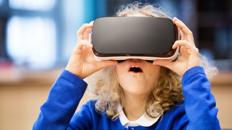 child using a VR headset