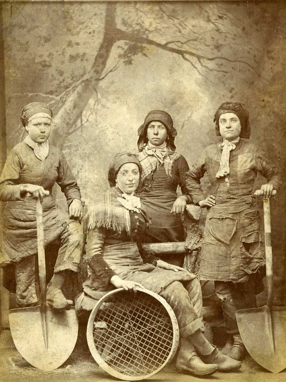 Pit Brow lasses from an unknown colliery in Wigan, Lancashire, 1887.