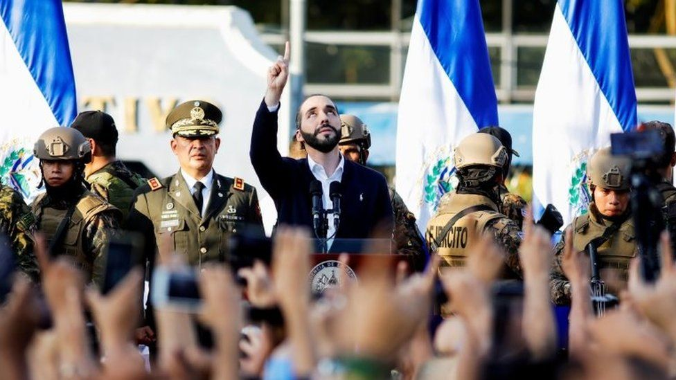 President Nayib Bukele gestures as he addresses his supporters on 9 February, 2020.