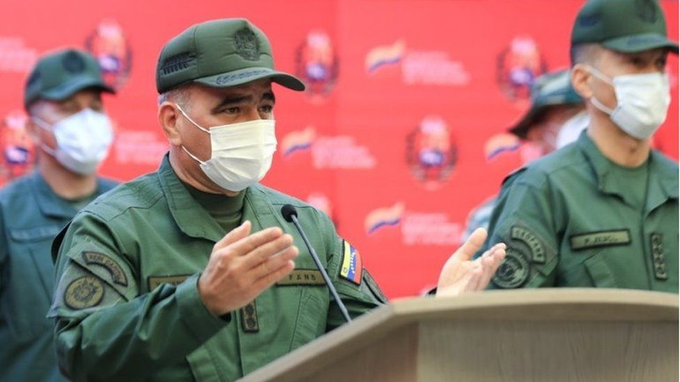 A handout photo made available by Miraflores Press showing the Venezuelan Defense Minister, Vladimir Padrino Lopez, during the transmission of a statement, in Caracas, Venezuela, 15 May 2021.