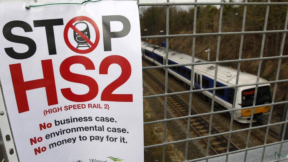 Stop HS2 sign on a railway bridge