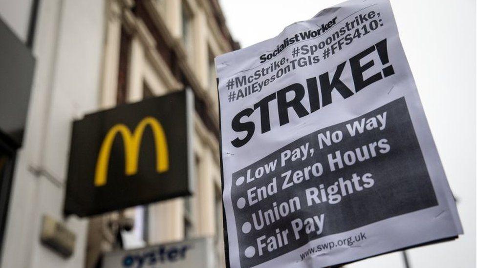 Banner at McDonald's strike