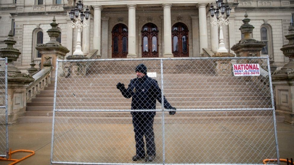 Fence being erected around the state capitol in Lansing, Michigan