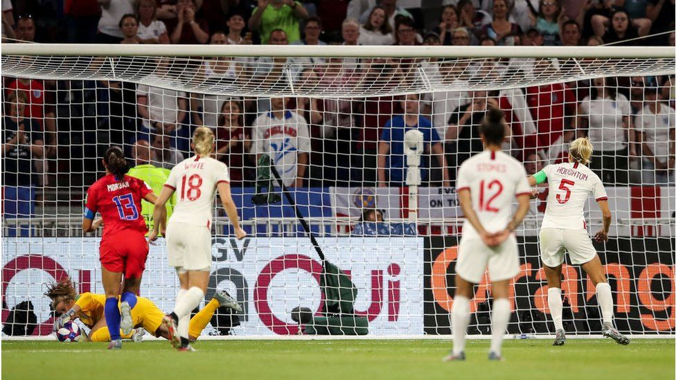 Steph Houghton of England misses a penalty awarded via VAR during the 2019 FIFA Women's World Cup France Semi Final match between England and United States of America