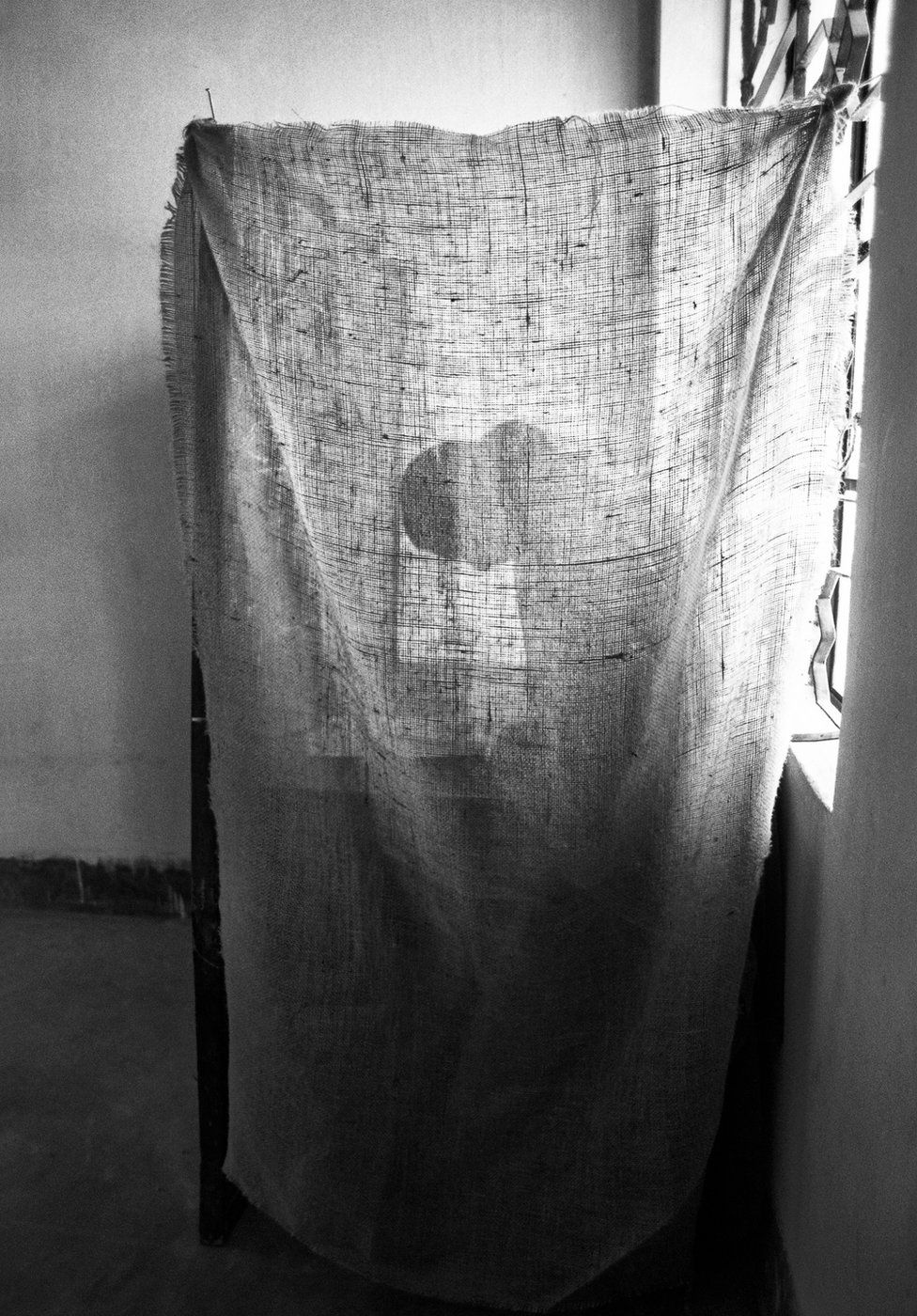 Shadow of a woman casting a vote behind a curtain