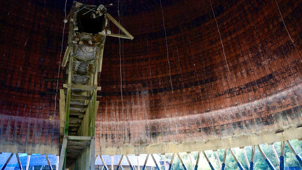 Inside one of the cooling towers