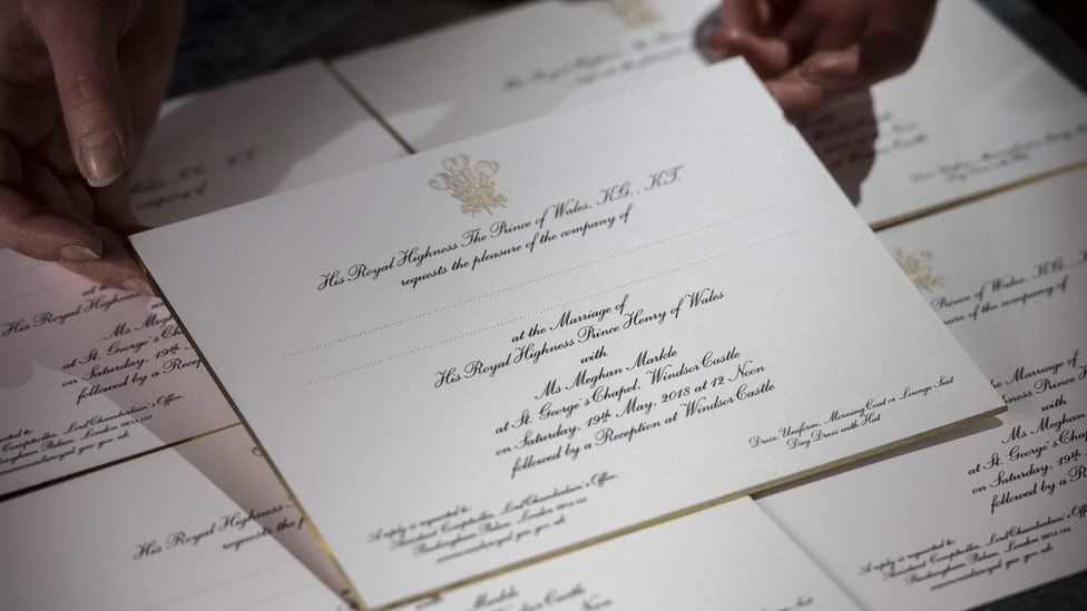 An invitation to the wedding of Prince Harry and Meghan Markle