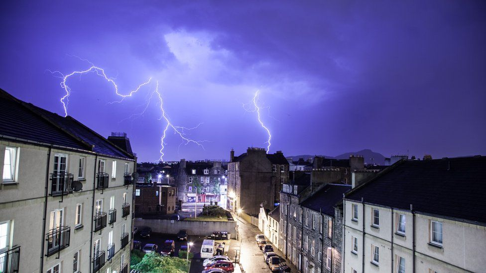 Lightning seen from Leith