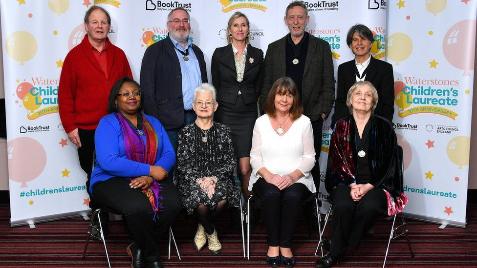 Sir Michael Morpurgo, Chris Riddlell, Lauren Child, Michael Rosen and Anthony Browne, Malorie Blackman, Jacqueline Wilson, Julia Donaldson and Anne Fine