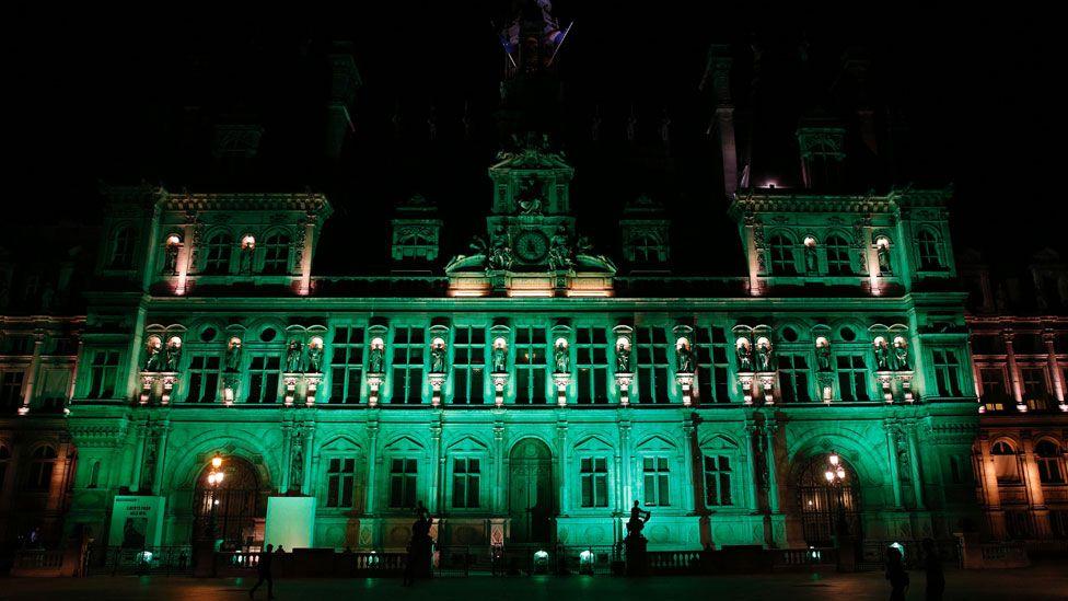Paris City Hall turned green