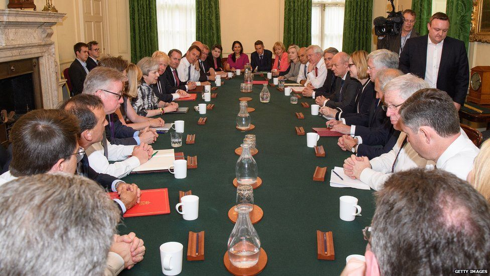 Theresa May chairs Conservative political cabinet in Downing Street