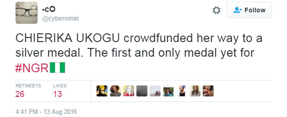 Tweet saying: Chierika Ukogu crowdfunded her way to a silver medal. The first and only medal yet for #NGR