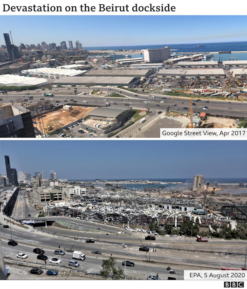 Streetview of port destruction