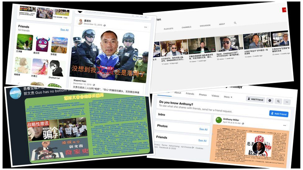 Screenshots from Facebook, Twitter and YouTube: Exiled tycoon and critic of the Chinese government Guo Wengui was one of the targets of the network