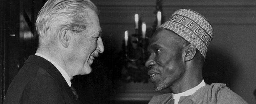 Nigerian politician Abubakar Tafawa Balewa meeting British Prim Minister Harold Macmillan at Admiralty House, London, September 6th 1962